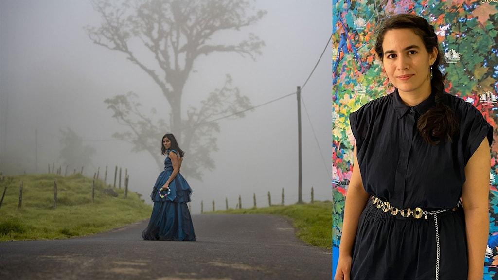 Bild på Wendy Chinchilla i filmen Clara Sola. Regissör Nathalie Álvarez Mesén till höger.