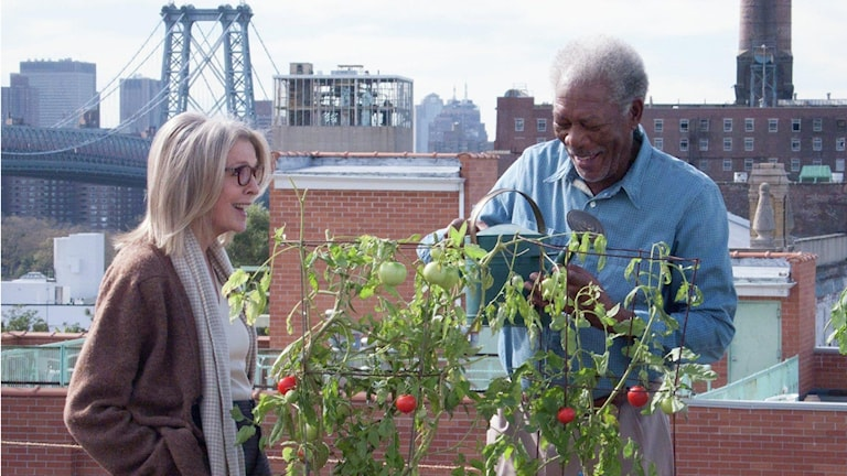 Diane Keaton och Morgan Freeman i Fem trappor upp. Foto: Njutafilms.