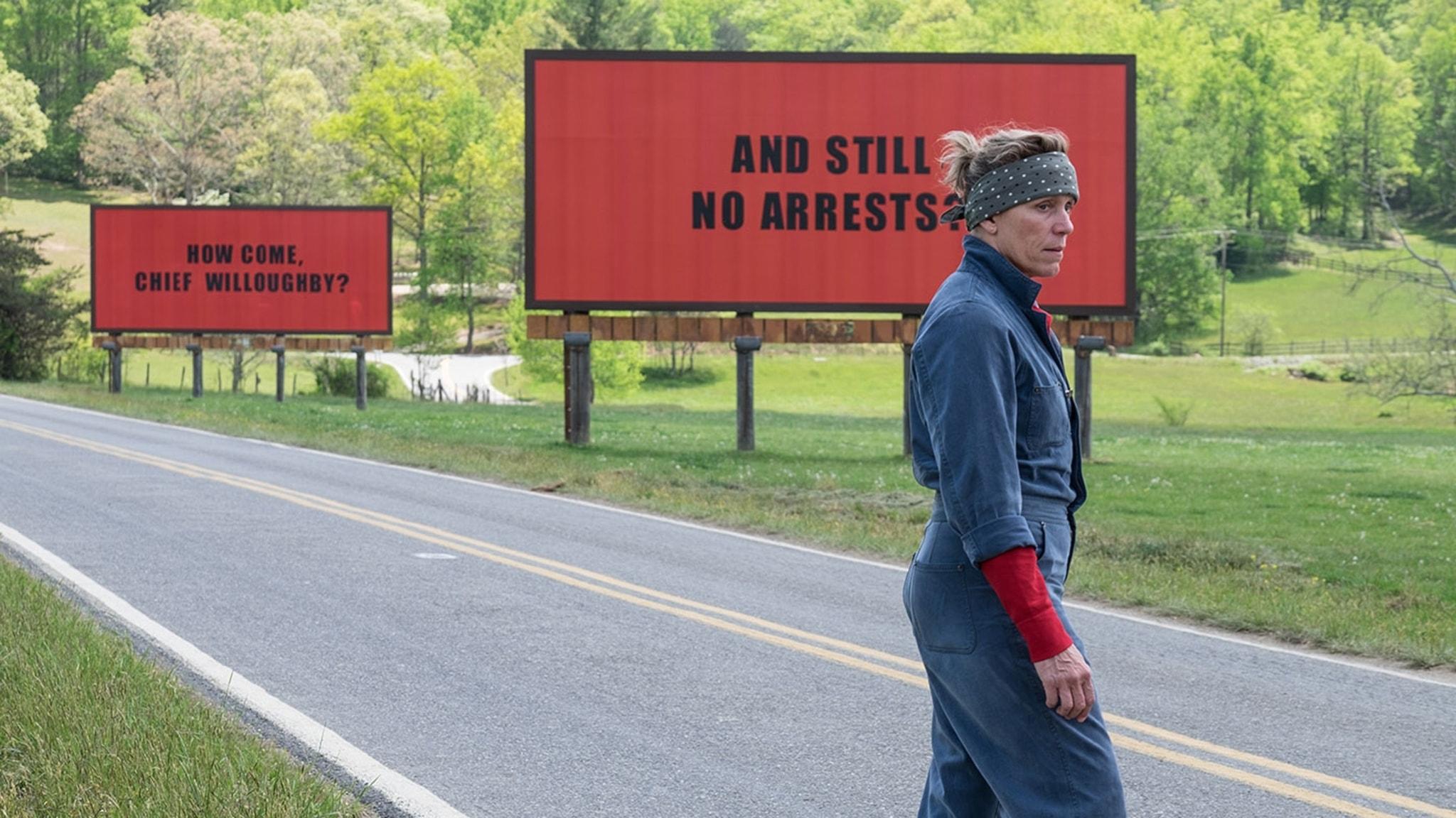 Frances McDormand i Three billboards outside Ebbing, Missouri. Foto: Fox Movies.