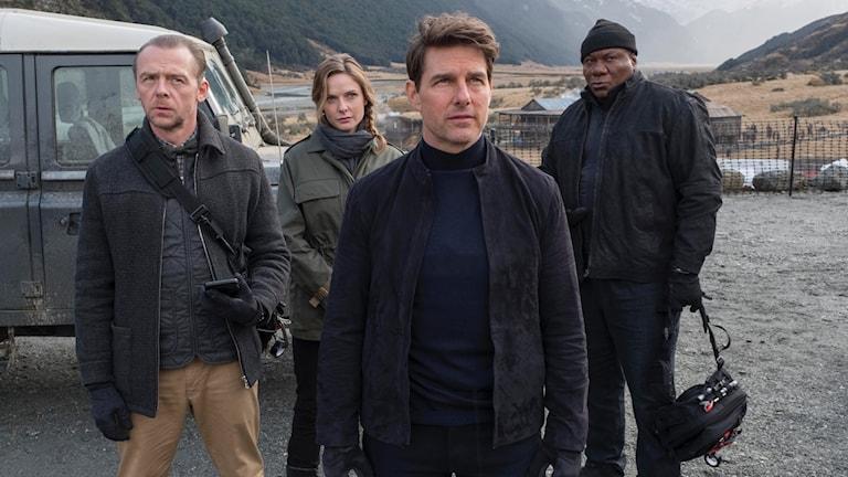 Simon Pegg, Rebecca Ferguson, Tom Cruise och Ving Rhames i Mission: Impossible - Fallout. Foto: UIP.