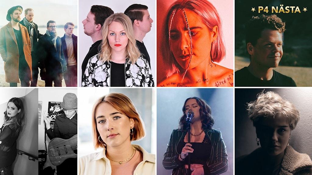 Ett kollage av alla finalister i P4 Nästa 2020. Från höger högst upp till vänster längst ner: Northlight, Sanna ft. Re:Bond, Julia Alfrida, Amskøld, Hilde & Erik, Nina Bring, Alicia Jern och Agnes Rehn.