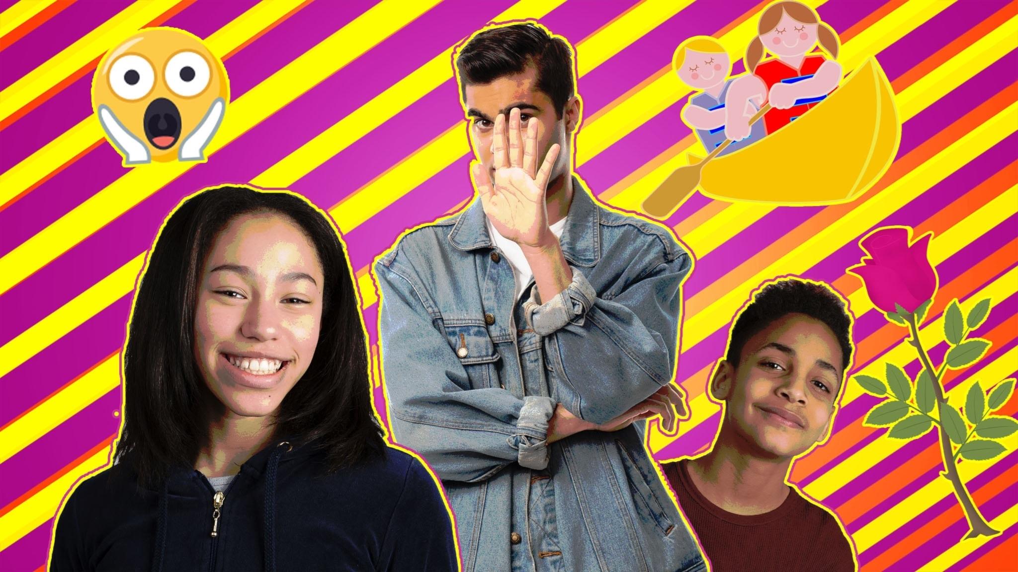 Programbild Cringe säsong 2 avsnitt 6: Kevin Waldermarsson, William Spetz och Savannah Cowan, skrik-emoji, ros och kanot.