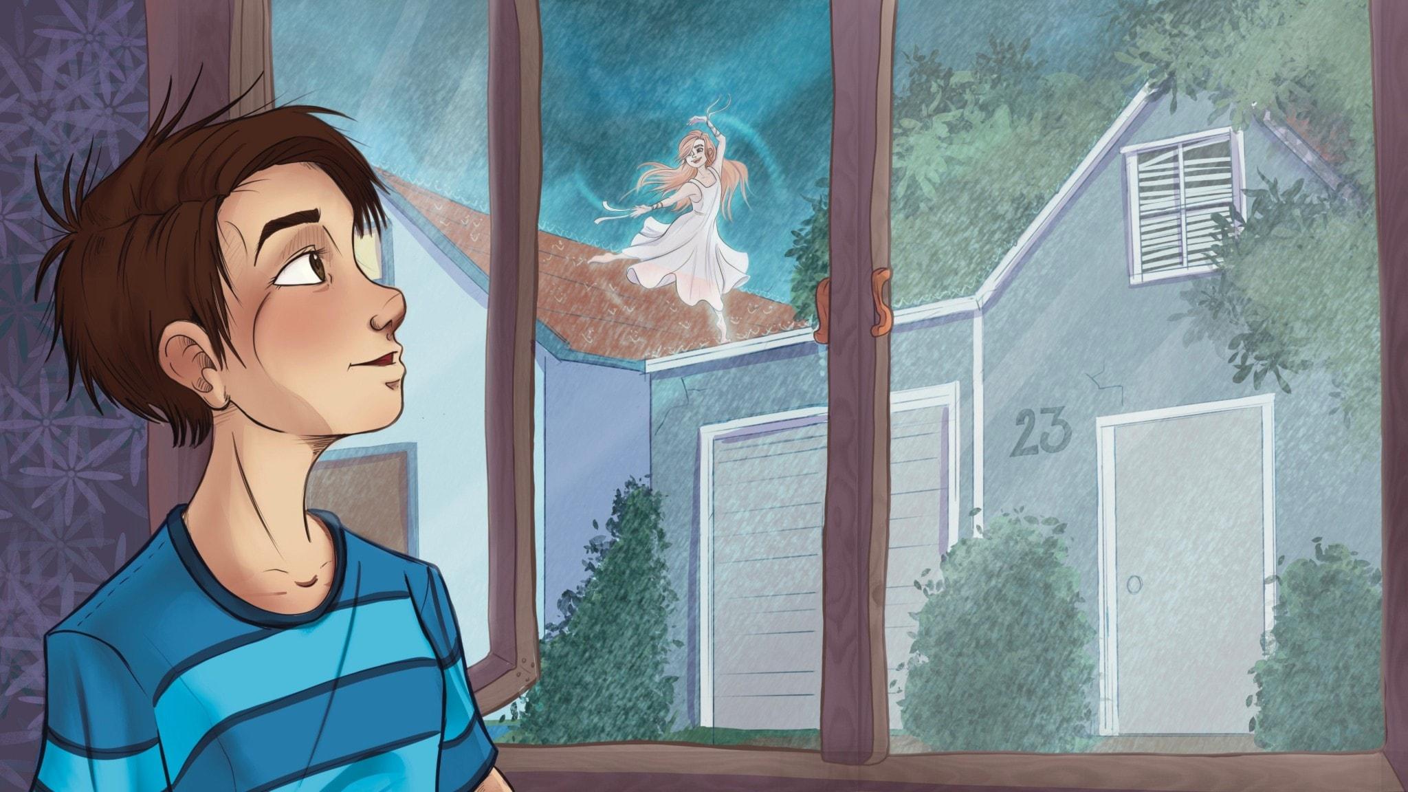 En pojke, Rian, kollar ut genom ett fönster mot en flicka som dansar på kanten av ett husgarage. Det är sommar och spöregnar.