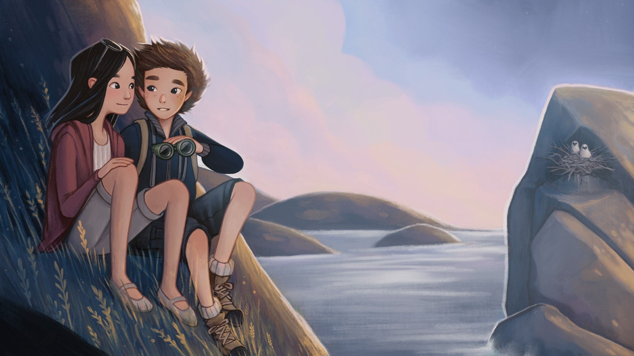 Mira och Adrian sitter nära varandra på en klippa. På klippan mittemot är en annan klippa med ett fågelbo i, som det är två fågelungar i.