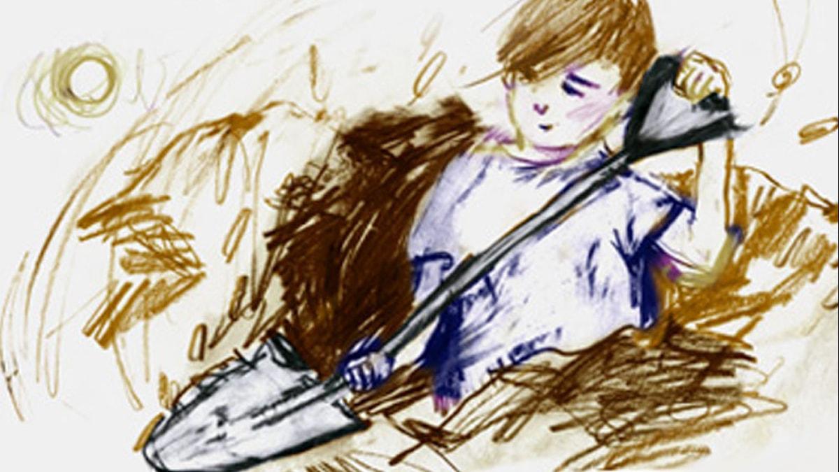 Pojken som aldrig slutade gräva. Illustration: Matilda Ruta / Sveriges Radio