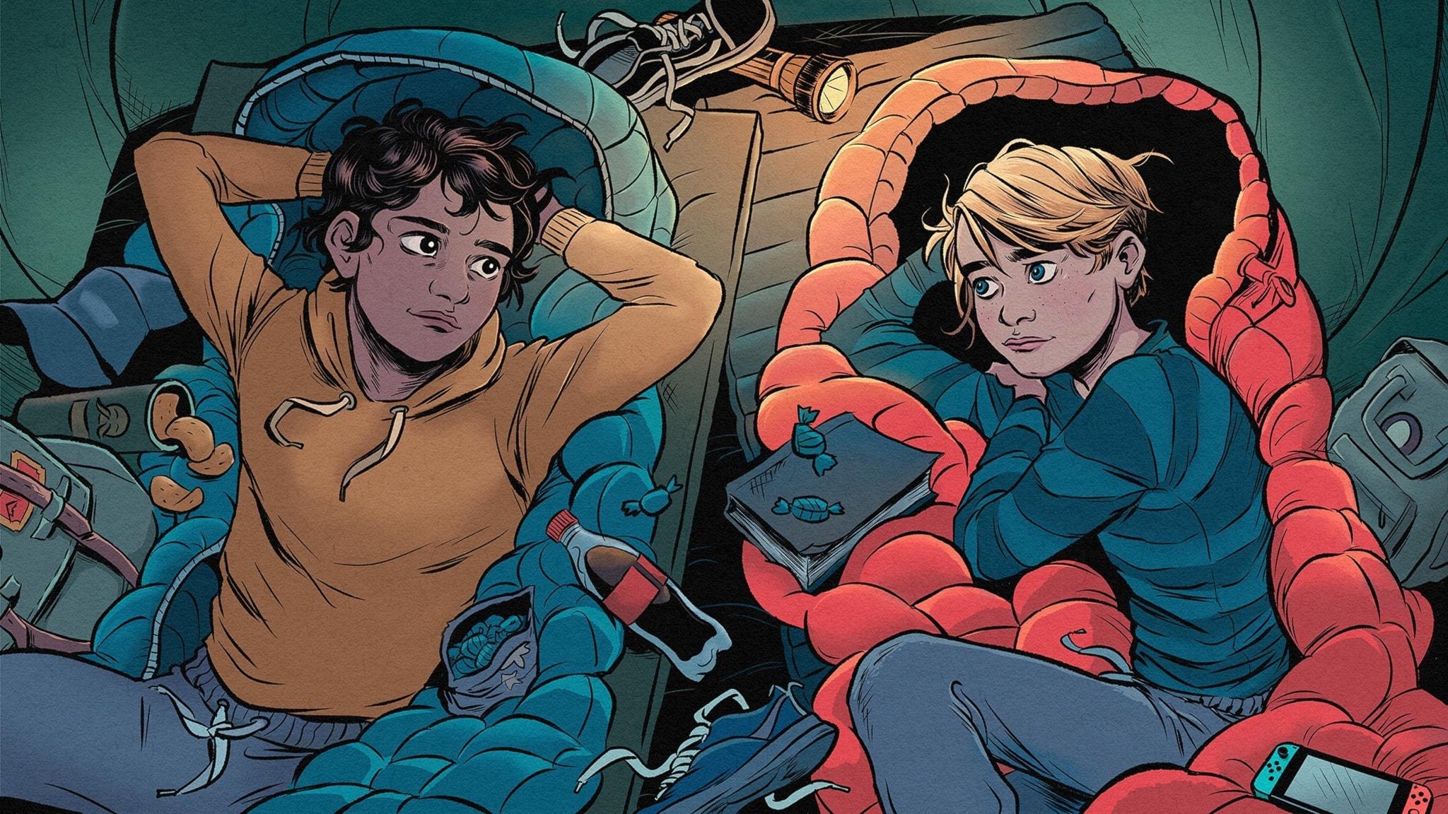 Illustration: Robin och Ludvig ligger på varsin sovsäck i ett tält. Robin kollar på Ludvig.