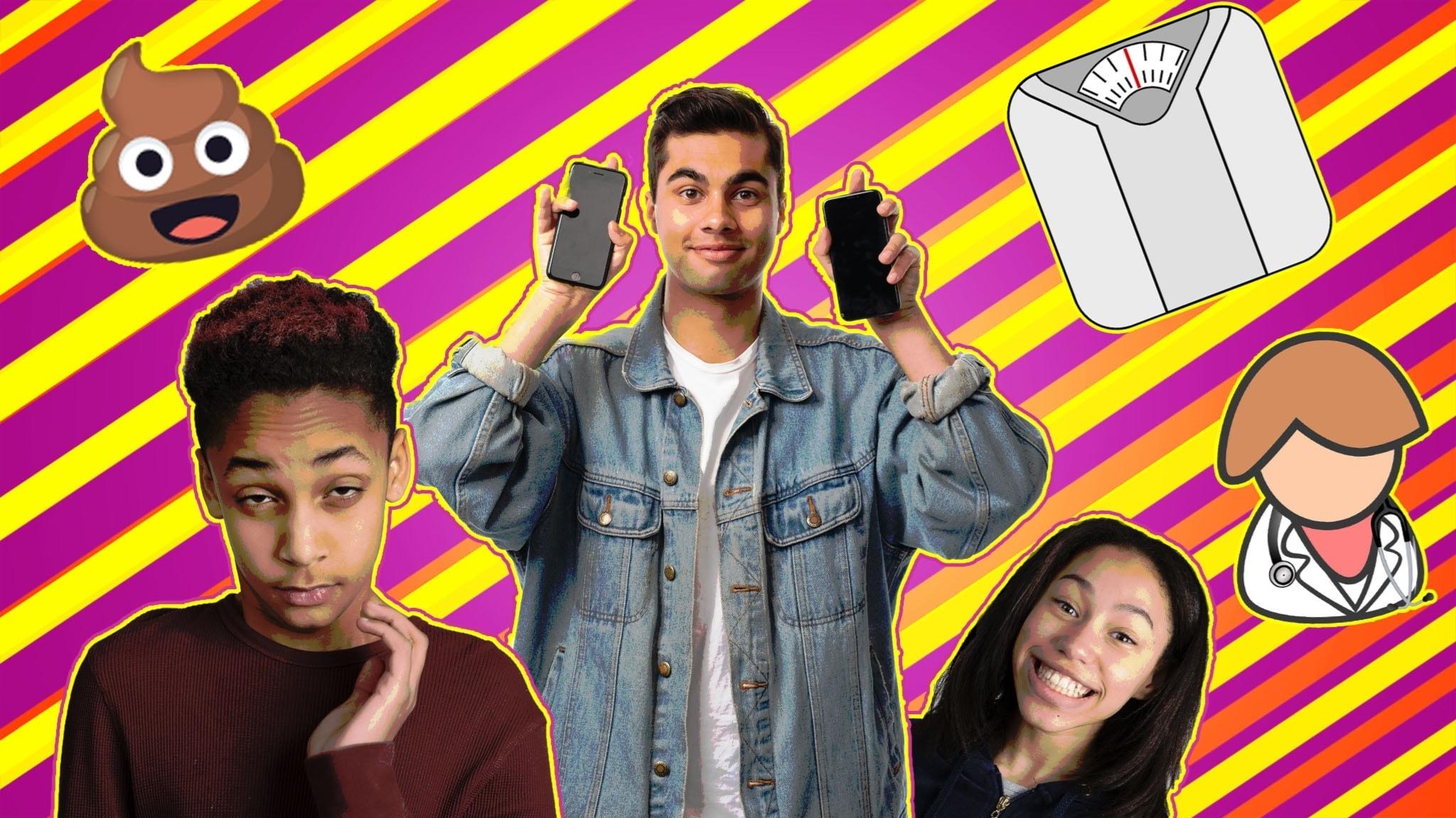 Programbild Cringe säsong 2: Kevin Waldermarsson, William Spetz och Savannah Cowan. Med emoji, våg och sjuksköterska.