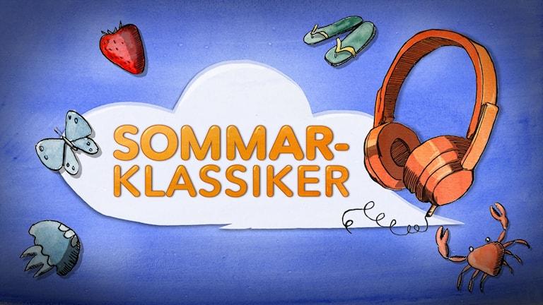 """Det står """"sommarklassiker"""" i ett tecknat moln. Runt molnet finns tecknade hörlurar, sanddaler, en jordgubbe, en fjäril, en manet och en krabba."""