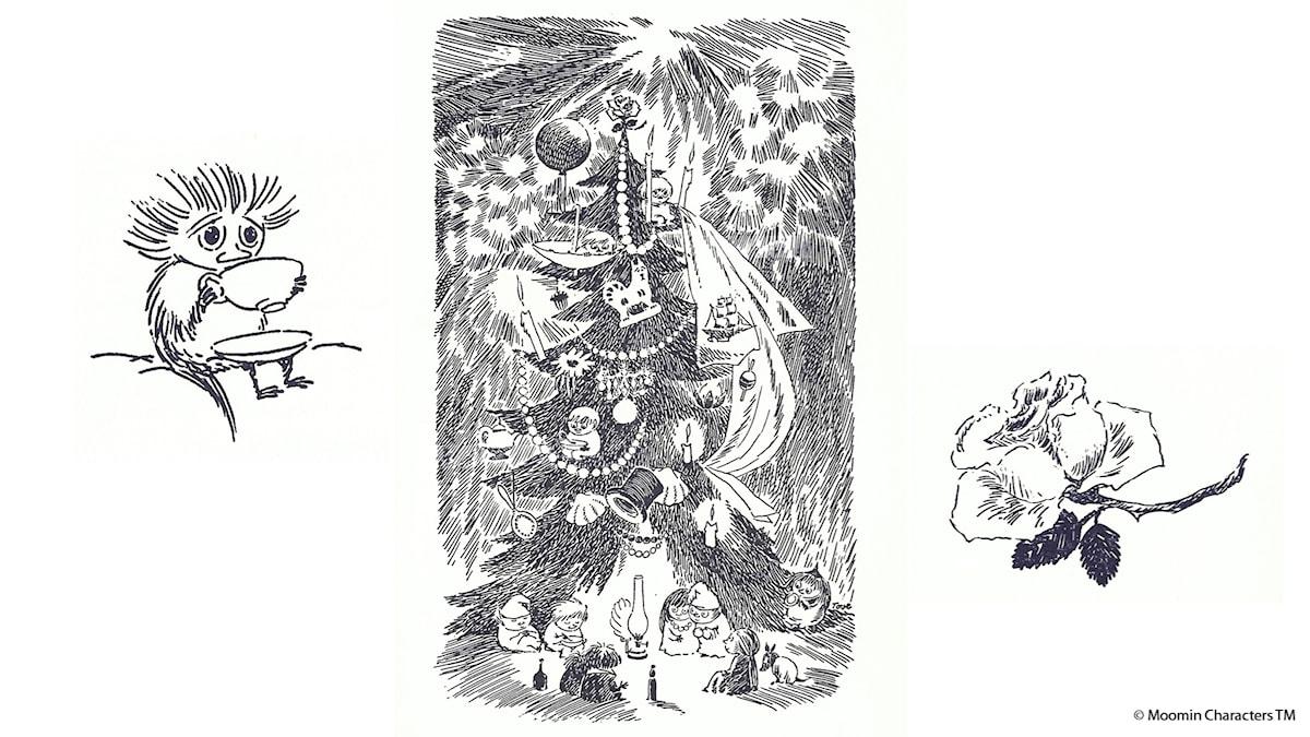 Från Mumindalen: Granen. Illustration: Tove Jansson © Moomin Characters TM