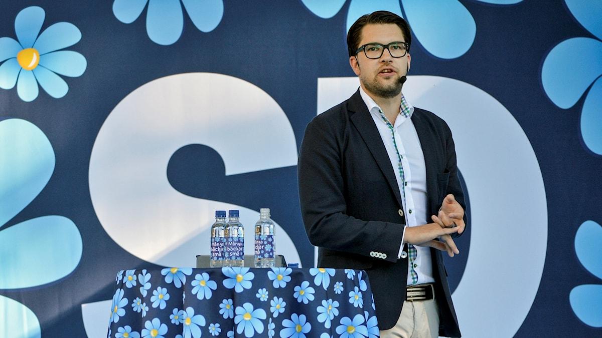 Jimmie Åkesson i talarstolen.