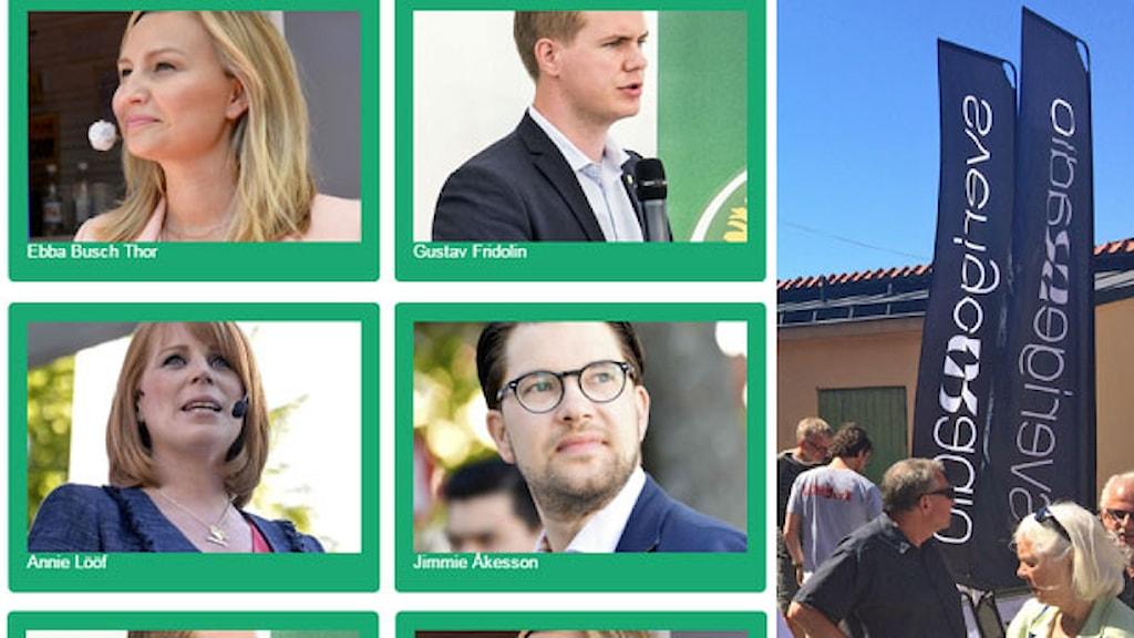 Partiledare du kan välja mellan i quizet. Foto: TT/Sveriges Radio.