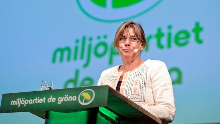 Isabella Lövin i talarstolen.
