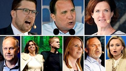 Partiledarna för rikdagspartierna.