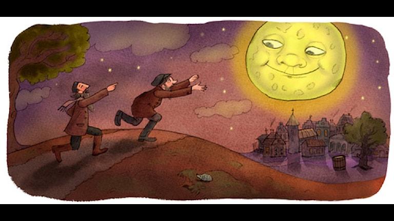 Jankele och Chajim jagar månen (Bild: Ingrid Flygare)