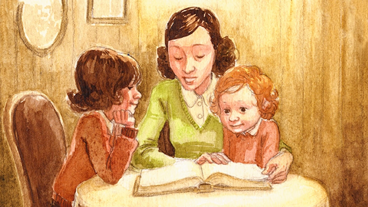 en mamma läser för sina flickor. Bild: Katarina Strömgård