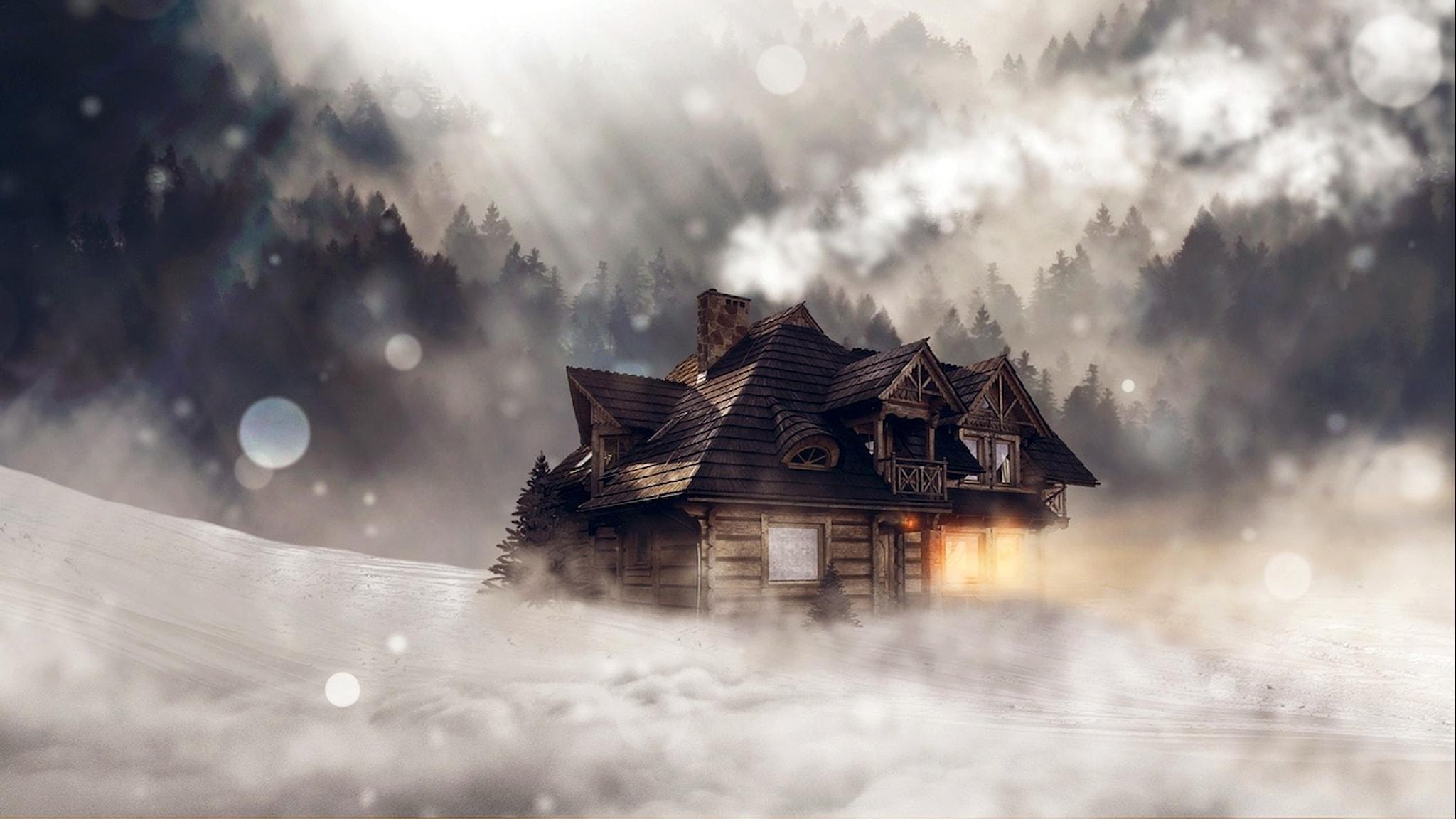 Stuga i snöstorm. Bild: Pixabay