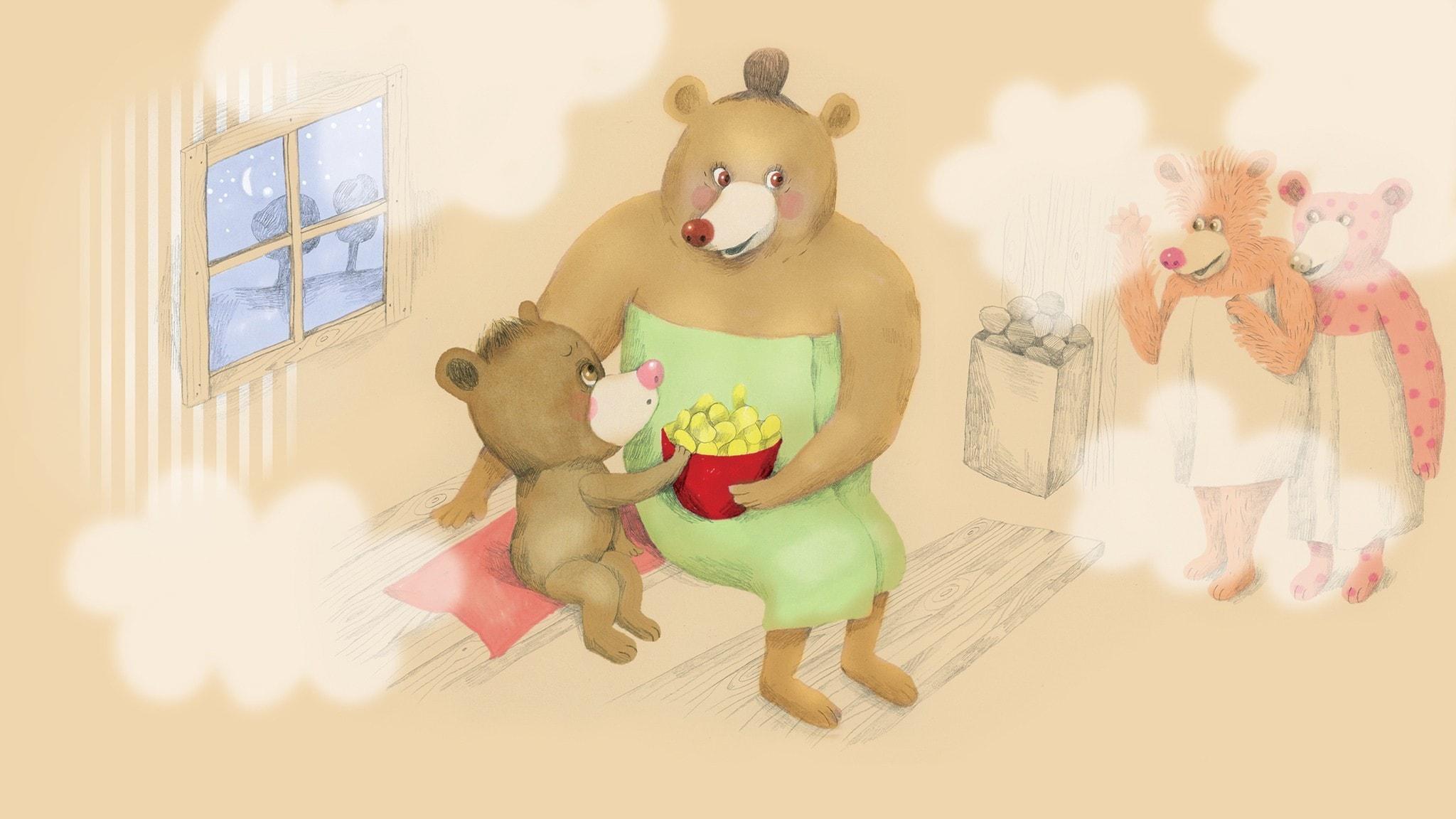 Nalle och farmor sitter i bastun med en skål chips när farmors kompisar kommer in. Illustration: Lotta Geffenblad
