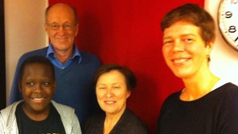 Brandon Sentongo, KG Bergström, Gunilla Röör och Johanna Lindbäck. Foto: Maja Åström/SR
