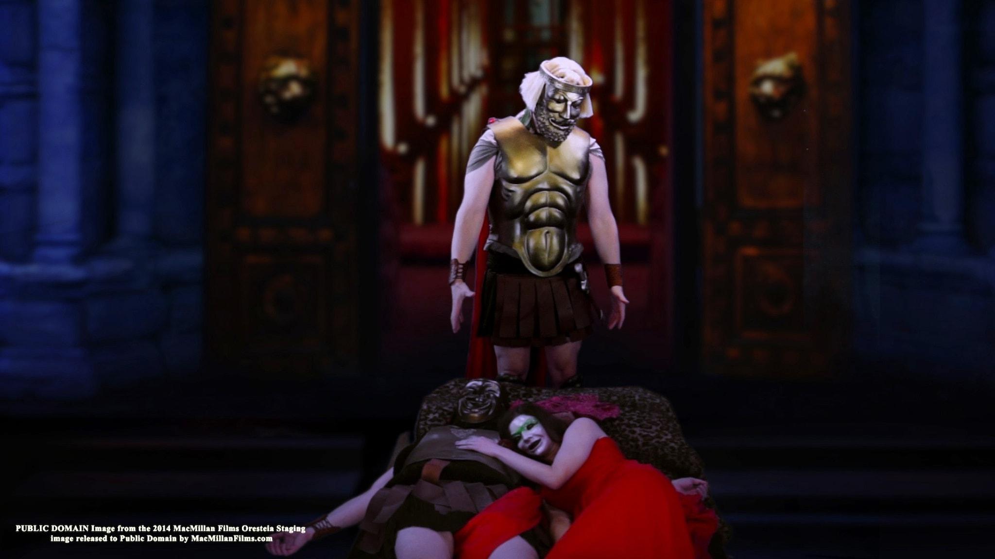 Orestes mördar Klytameistra och Aigisthos.
