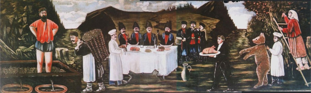 """Druvskördefesten"" av Niko Pirosmani"