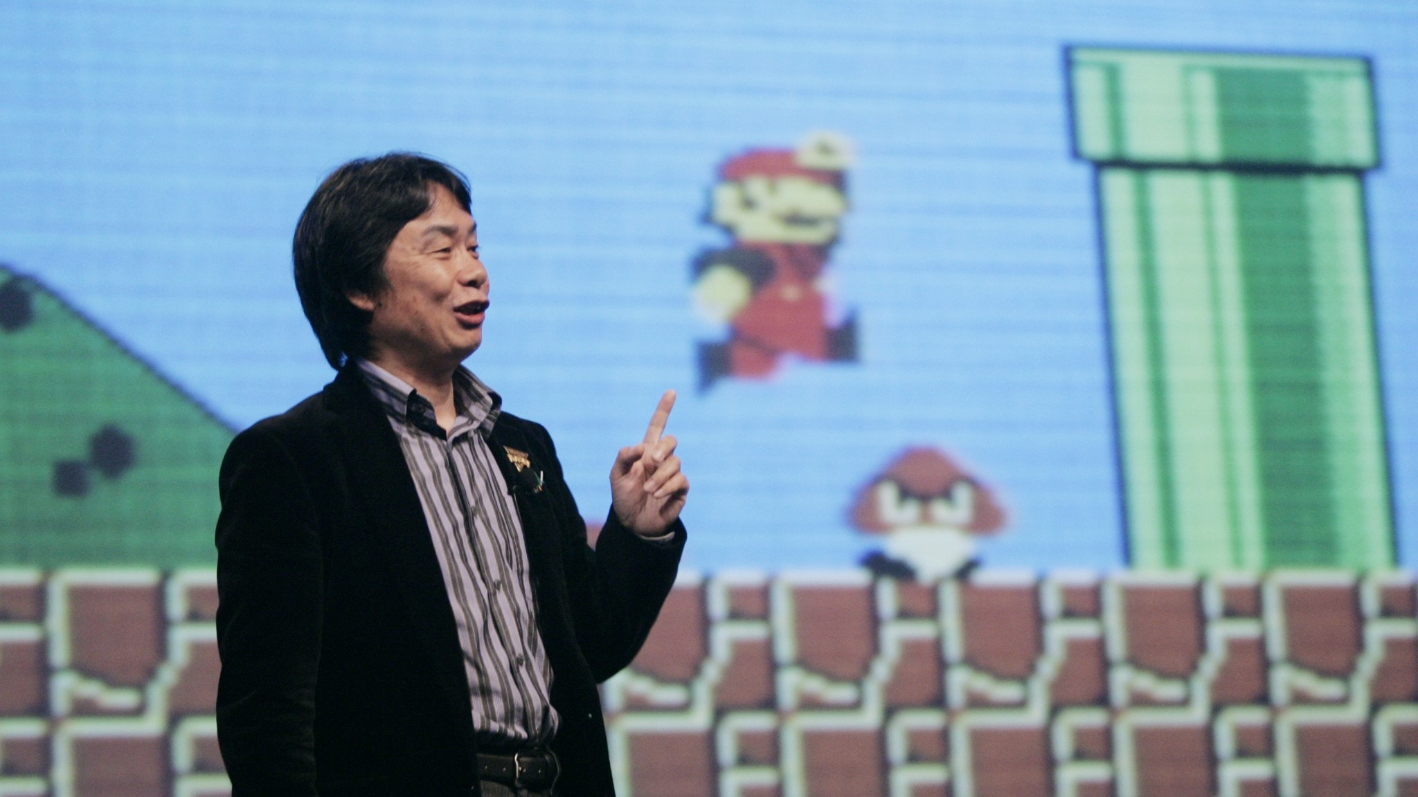 Marios skapare Shigeru Miyamoto håller en föreläsning om spelkaraktären Mario
