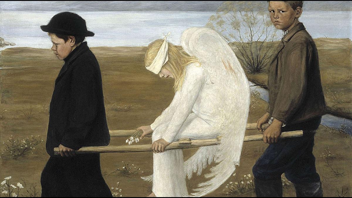 Sårad Ängel. Konstnären Hugo Simbergs kända målning från 1903. Beskuren. Foto: Wikimedia commons