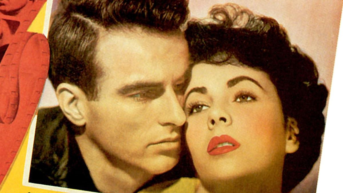 """Montgomery Clift och Elizabeth Taylor på affischen till """"En plats i solen"""""""