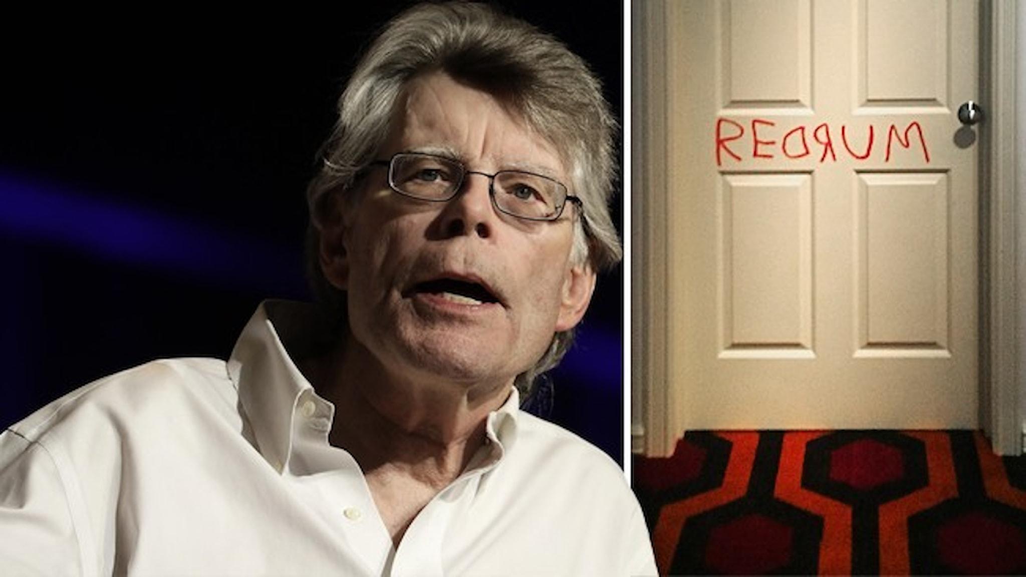"""Porträtt av författaren Stephen King och dörren med texten MURDER baklänges från filmen """"The Shining"""" som bygger på en roman av King."""