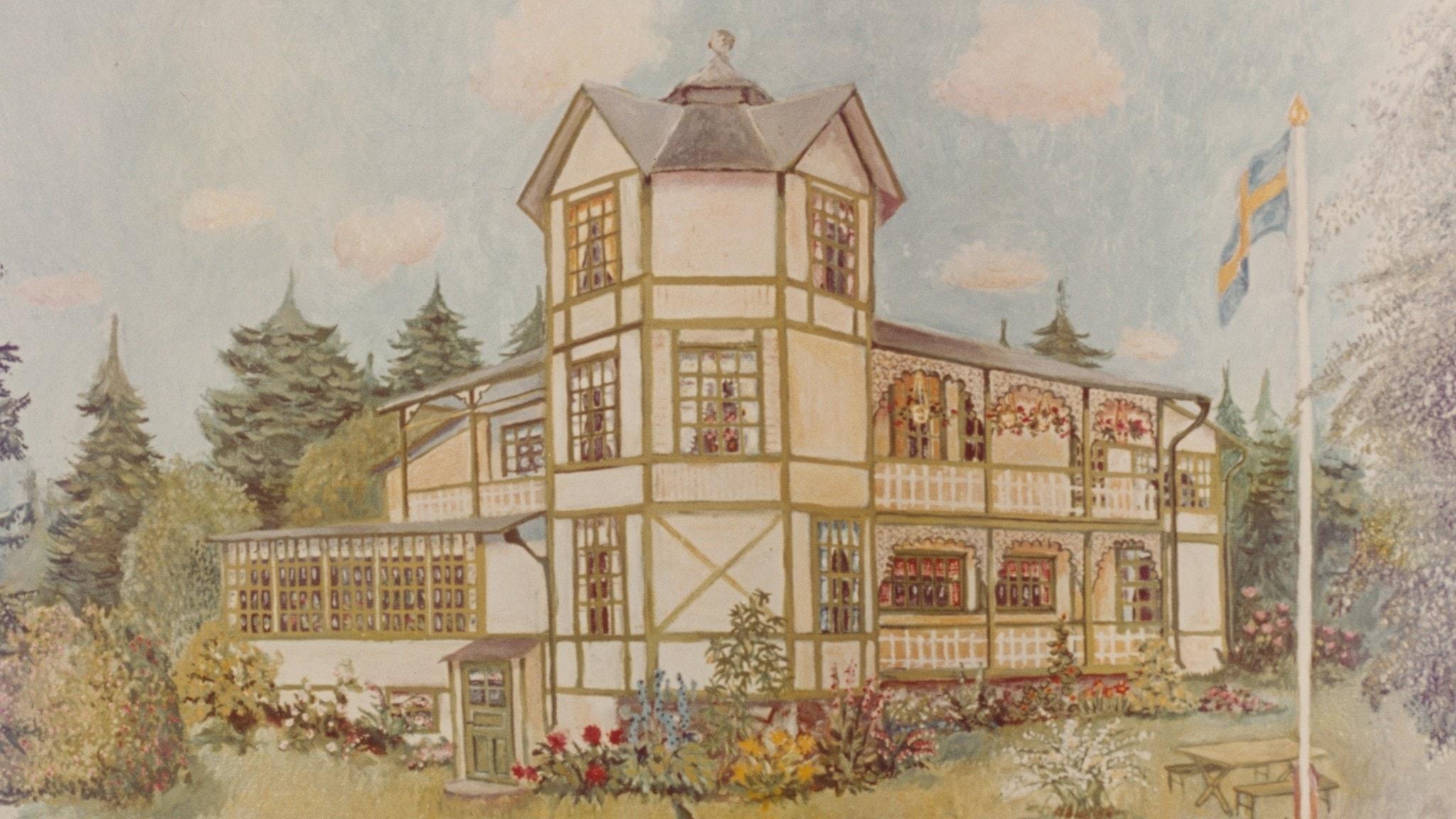En illustration av Paradistorg, huset i Gunnel Lindbloms film från 1977.
