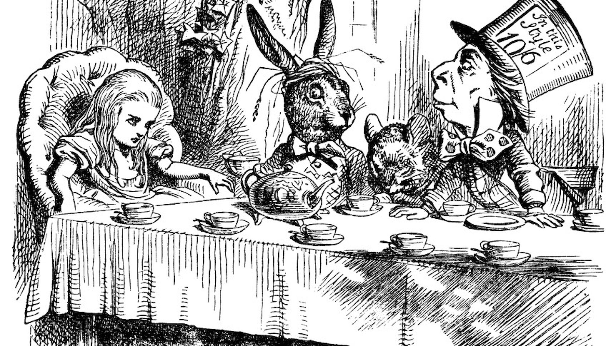 Alice på tekalas med Påskharen och Hattmakaren. Illustration av Sir John Tenniel från 1865.