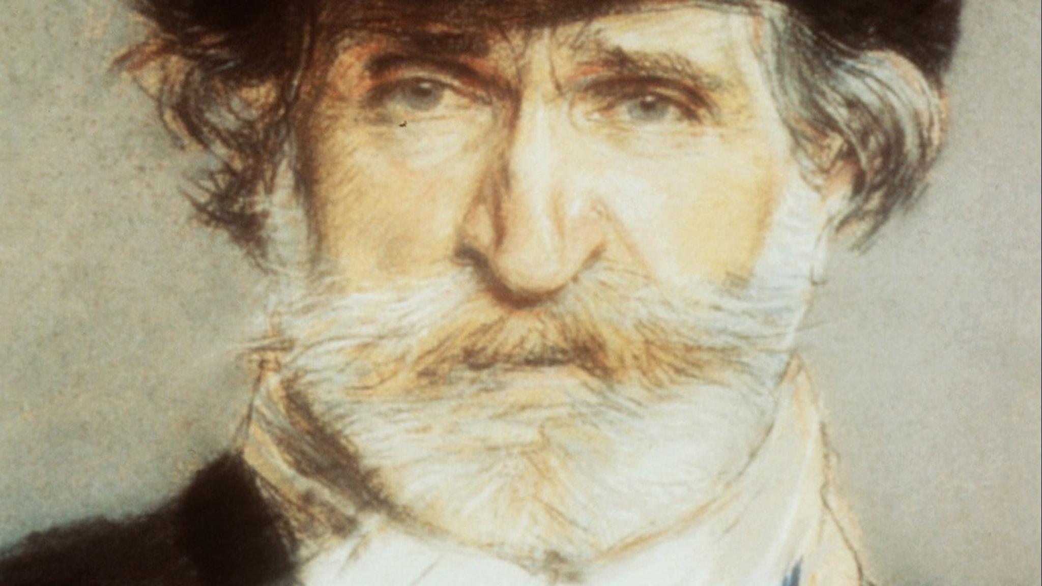 Målad närbild på Giuseppe Verdi.