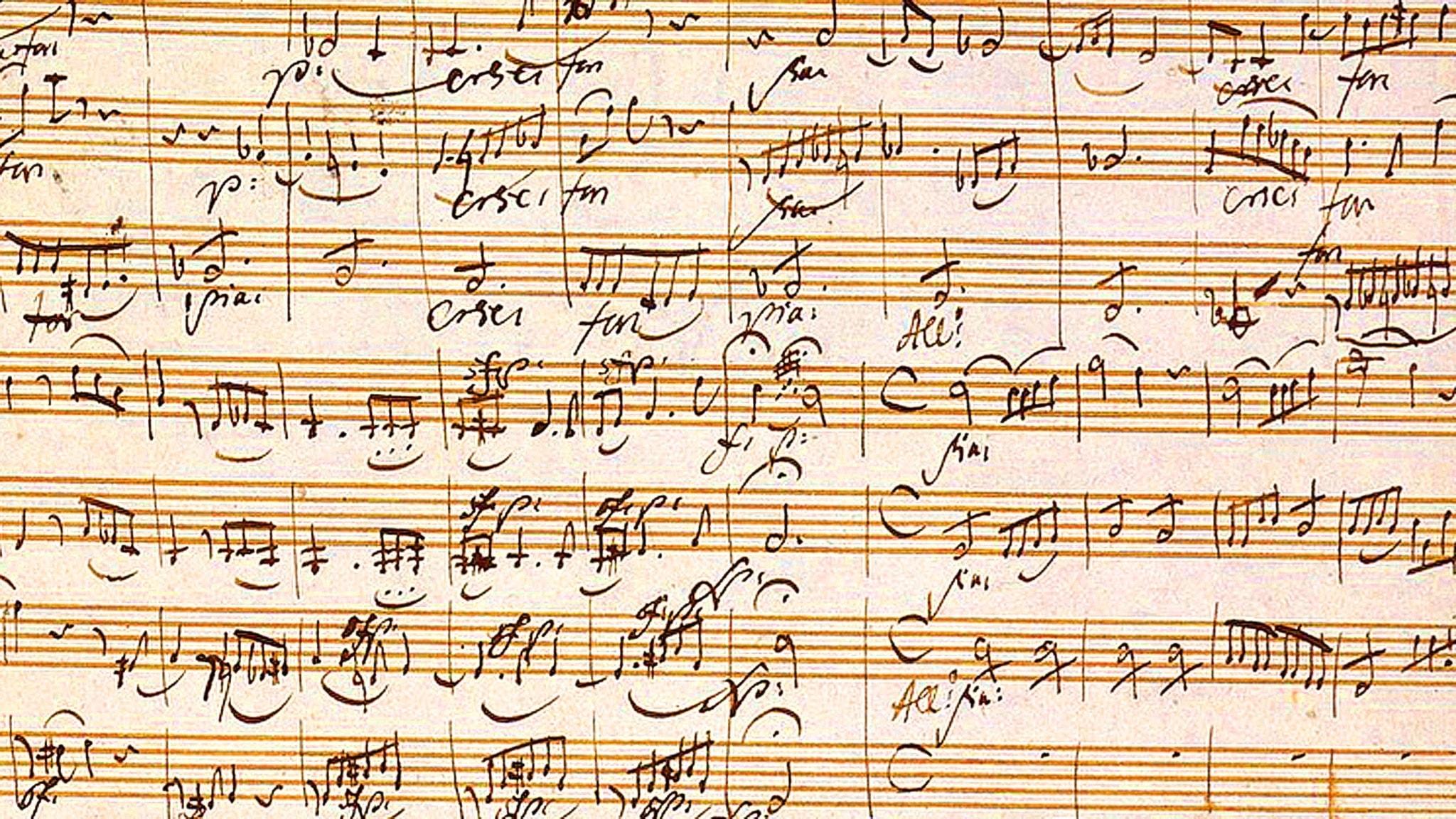 Närbild på Mozartpartitur