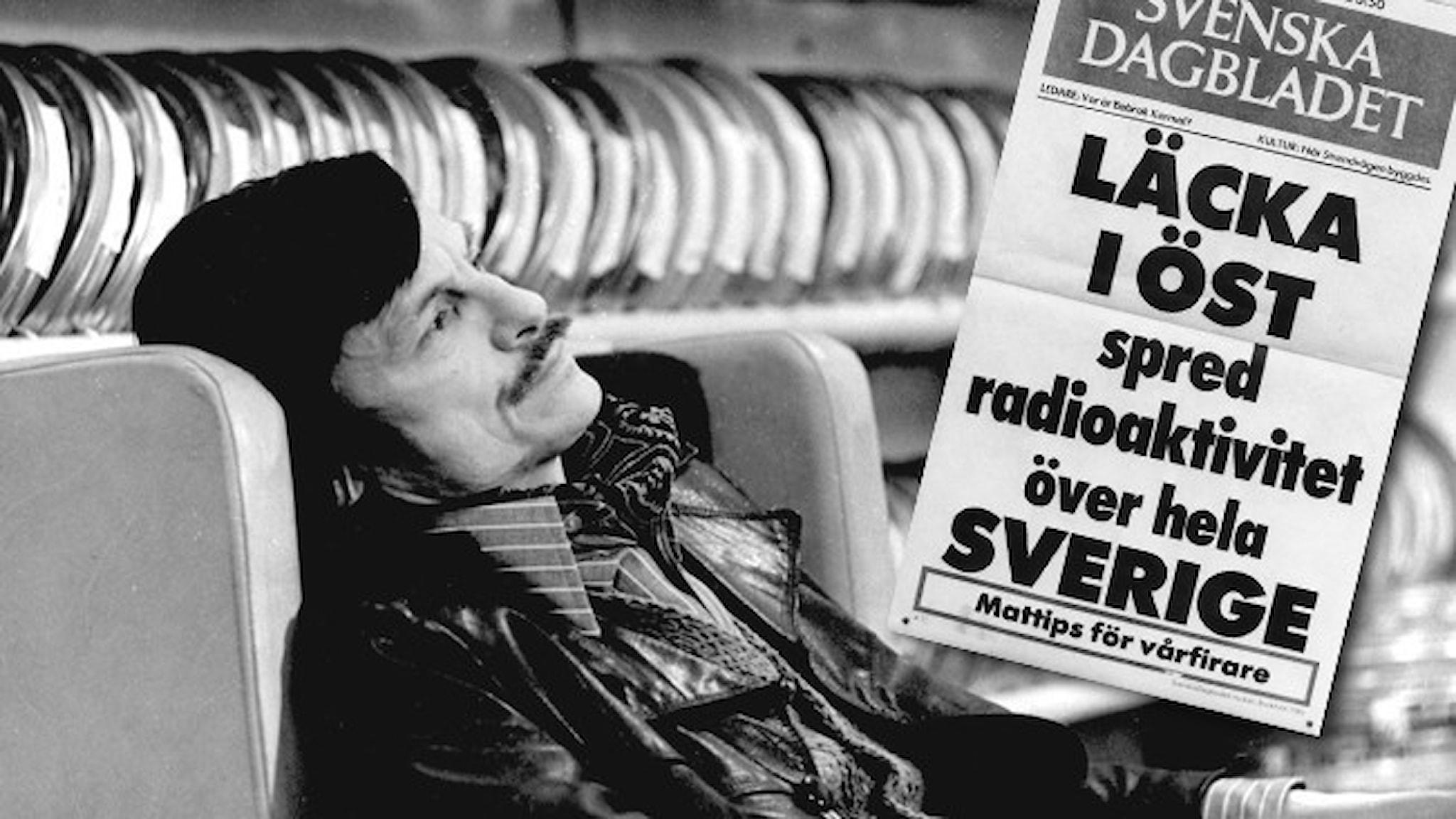 """Svartvit bild: Regissören Andrej Tarkovskij halvligger i en fåtölj. Infällt i bilden är Svenska dagbladets löpsedel från 1986: """"Läcka i öst spred radioaktivitet över hela Sverige""""."""