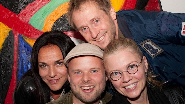 Kerstin Ryhed Lundin, Morten Vinther, Anders Edenroth och Katarina Henryson från The Real Group hälsade på i Haffa idag. Foto: Pia Lindhe Rudolf
