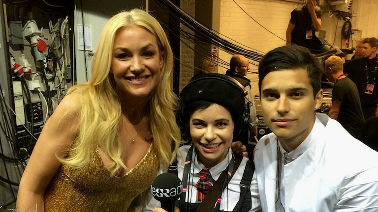 Jessica Andersson & Carolina Norén & Eric Saade (Foto: Kris Boswell/Sveriges Radio)