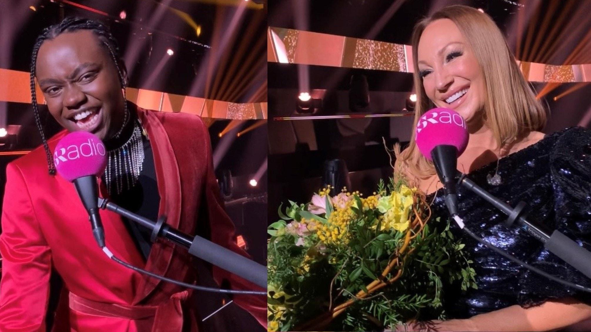 Melodifestivalen eftersnack: Finalisterna Tusse och Charlotte Perrelli i deltävling tre intervjuas av Carolina Norén