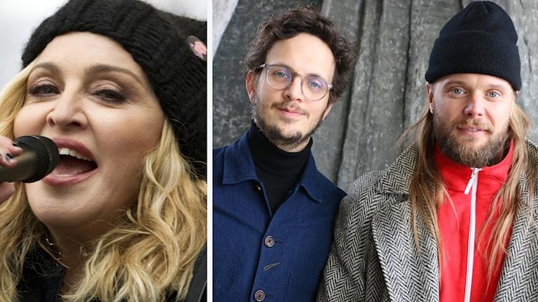 Kollage: Madonna och Salem al Fakir och Vincent Pontare.