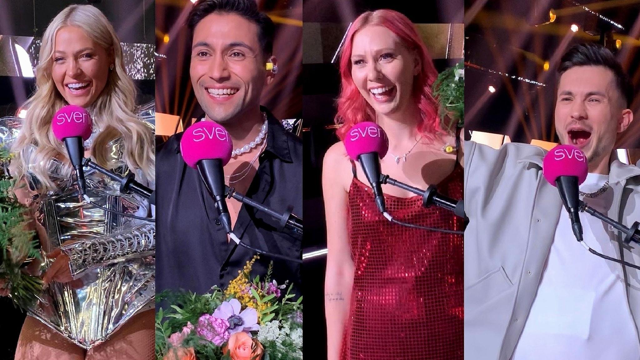 Ett fotomontage på de glada finalisterna som vann sina dueller Melodifestivalens Andra Chansen. Klara Hammarström, Alvaro Estrella, Clara Klingenström och Paul Rey