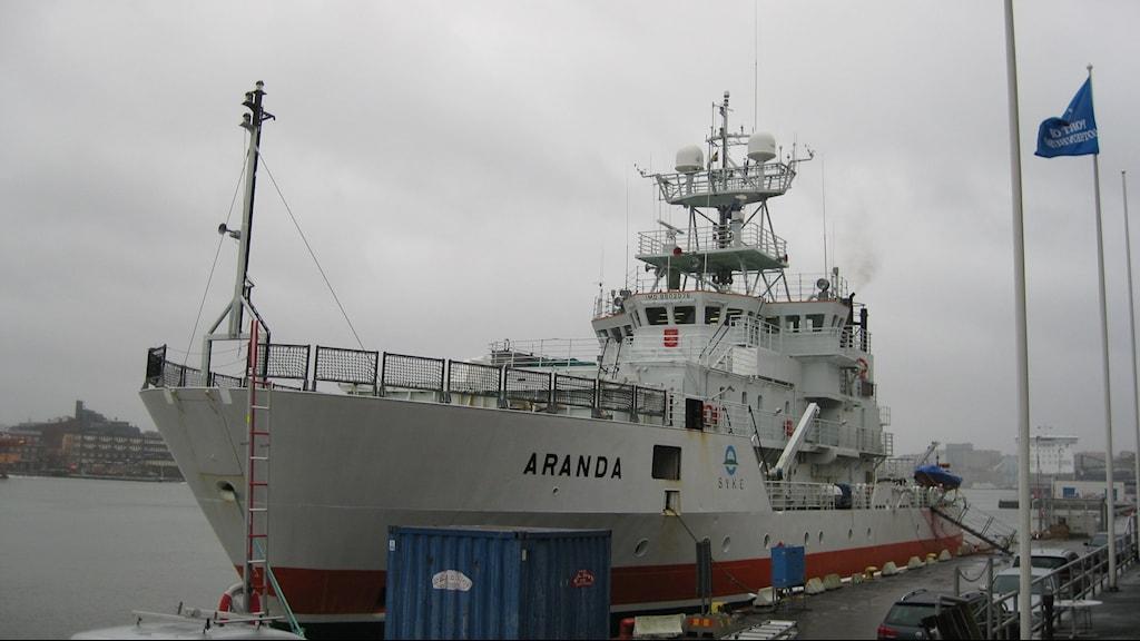 Forskningsfartyget Aranda i Göteborgs hamn Foto: Johan Bergendorff / Sveriges Radio