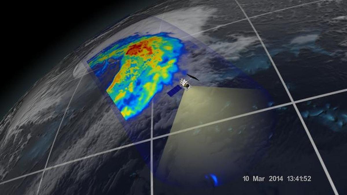 GPM satteliten visar en mikrovågsbild av en tropisk cyklon över Japan i mars 2014. Foto: NASA/JAXA