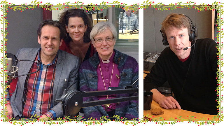 Svante Axelsson, Marie-Louise Kristola, Antje Jackelén och Björn Sandén i Klotets julstudio.