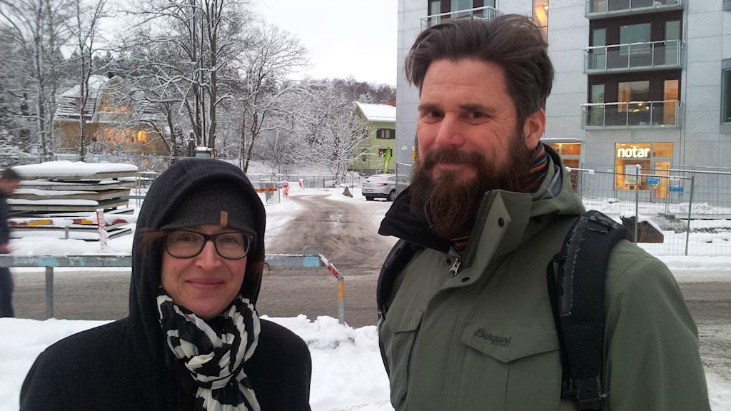 Christina Salmhofer, miljösamordnare, och Staffan Lorentz, projektchef för Norra Djurgårdsstaden på Stockholms exploateringskontor.Foto Björn Gunér.