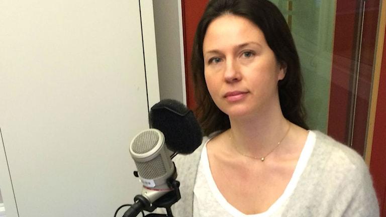 Agnes Faxén i studion. Foto: SR