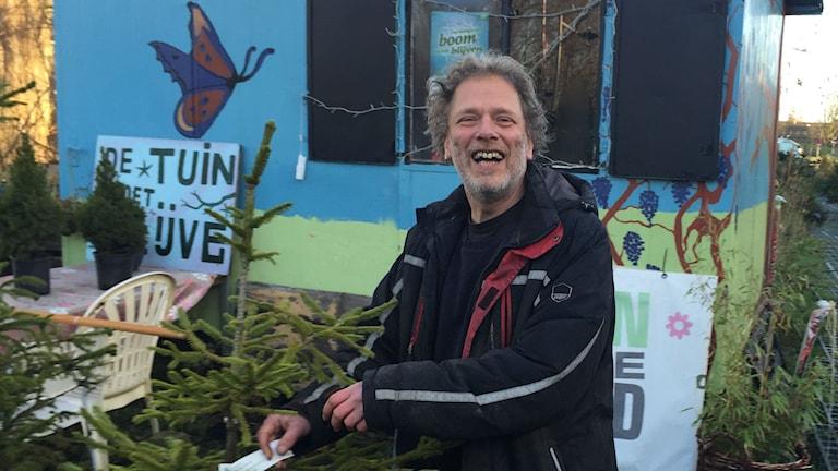 Julgransförsäljaren Frans Kerver i Nederländska Groningen erbjuder sina kunder ett annorlunda koncept, jämfört med det traditionella.  Foto: Johan Bergendorff / Sveriges Radio