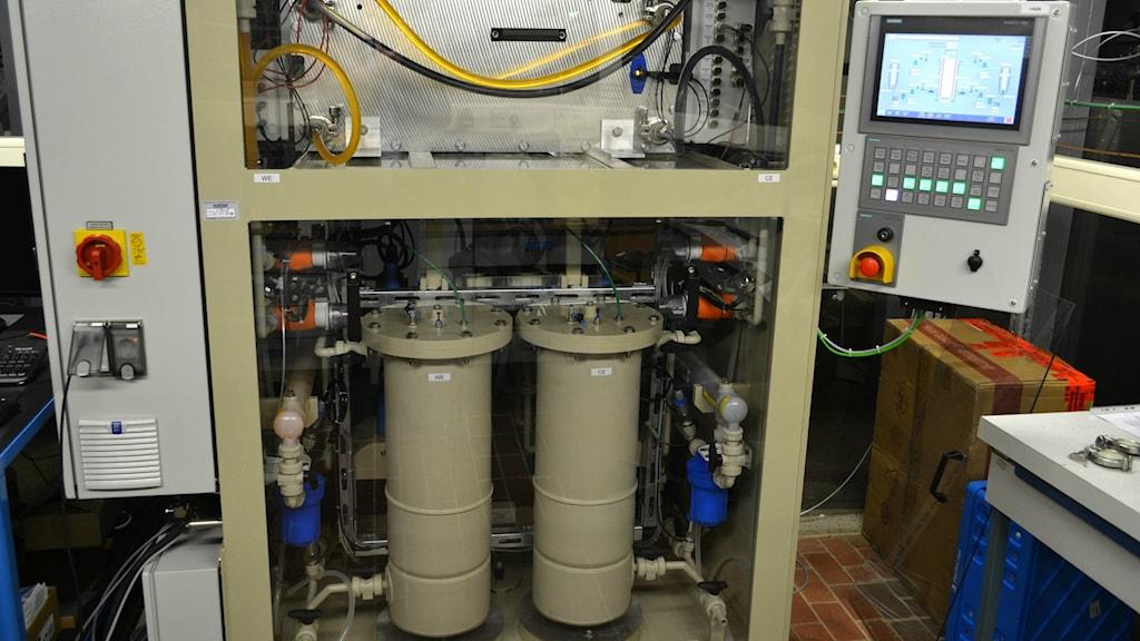 Organiskt batteri testas vid Jena batteries i Tyskland. Foto:Marcus Hansson/SR
