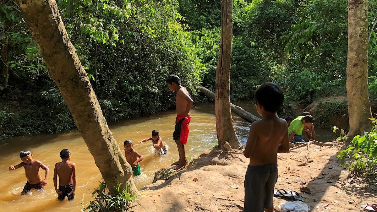 Barn badar i en flod i Amazonas