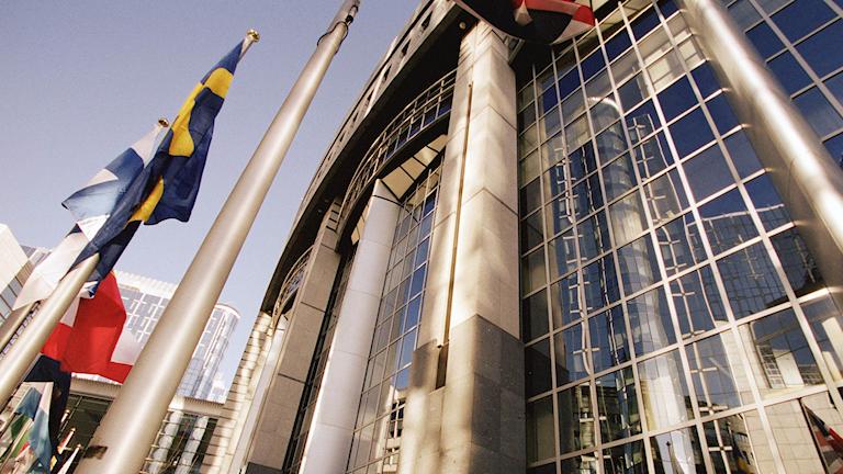 En husfasad som hör till Europaparlamentets byggnad i