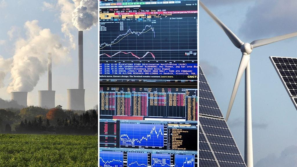 Tredelad bild: till höger rykande skorstenar, i mitten kurvor och siffror på skärmar och till höger vindkraftverk och solpaneler.