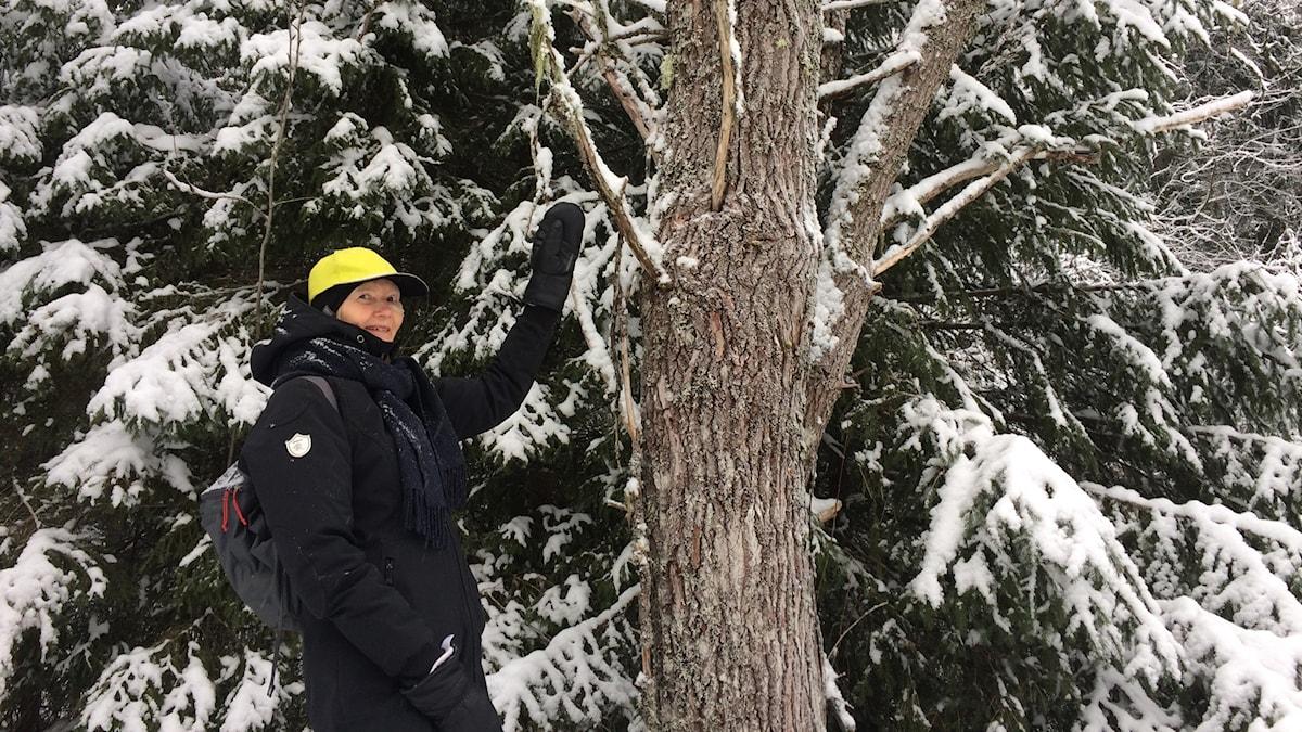 En kvinna står vid ett stort snöklätt träd.