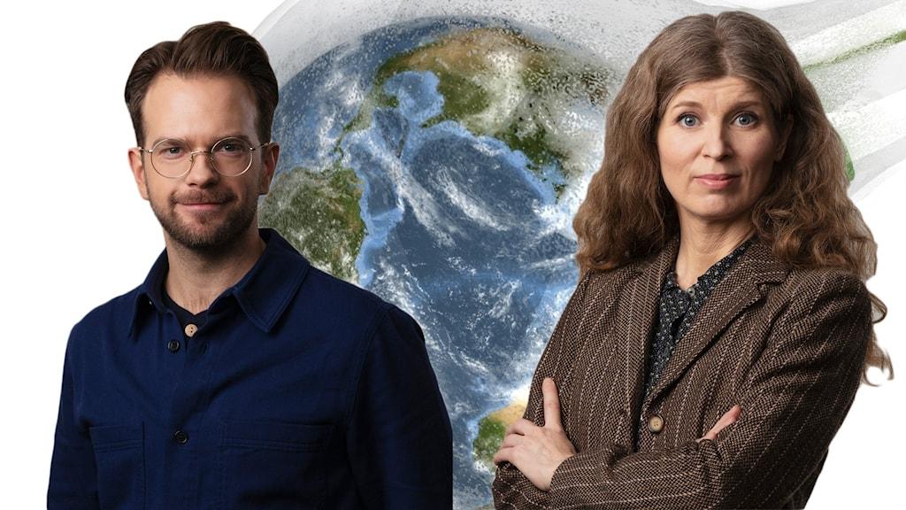 En man och en kvinna framför en bild av en jordglob.